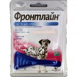 Фронтлайн Спот Он Капли для собак 20-40кг от блох и клещей, L 2,68мл*1пипетка