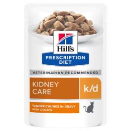 HILL'S К/D консервы для кошек лечение заболеваний почек, МКБ, курица кусочки в соусе 85г пауч
