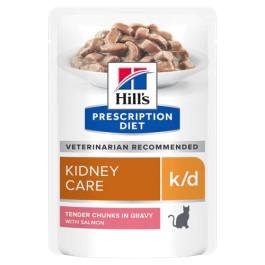 HILL'S консервы для кошек К/D лечение заболеваний почек, МКБ, лосось кусочки в соусе 85г