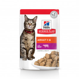HILL'S Science Plan Optimal Care Adult консервы для кошек Говядина в соусе 85г пауч