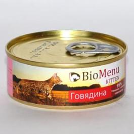 BioMenu консервы для котят паштет с Говядиной 100г