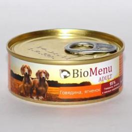 BioMenu консервы для собак Говядина и Ягненок 100г
