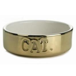 Beeztees Миска для кошек керамическая золотая 200мл 11,5*4см
