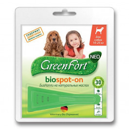 GreenFort БиоКапли от эктопаразитов для собак 10-25кг 1 пипетка 1,5мл