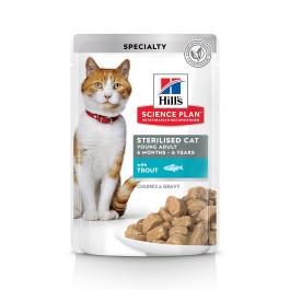 HILL'S Science Plan Sterilised консервы для стерилизованных кошек Форель в соусе 85г пауч