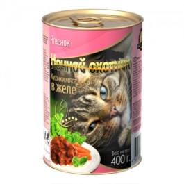 Ночной Охотник консервы для кошек Ягненок, кусочки в желе 415г