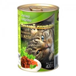 Ночной Охотник консервы для кошек Телятина и Индейка, кусочки в желе 415г
