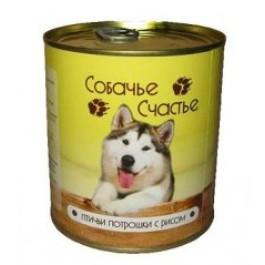 Собачье счастье консервы для собак Птичьи потрошки с рисом 750г