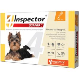 Инспектор Quadro С капли для собак 1-4кг от внешних и внутренних паразитов 1 пипетка
