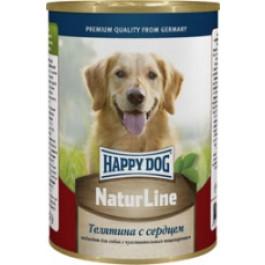Happy Dog Nature Line консервы для собак Телятина с сердцем 400г