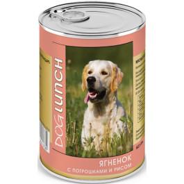 Дог Ланч консервы для собак  Ягненок с потрошками и рисом 410г
