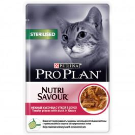 Pro Plan  консервы для кастрированных кошек, кусочки в соусе утка 85г Sterilised, пауч