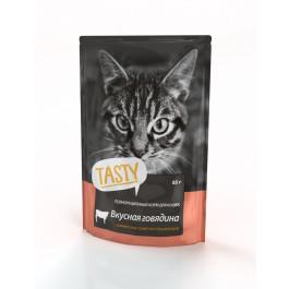 Тasty консервы для кошек с Говядиной в желе 85г пауч