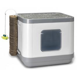 Туалет-домик для кошек Moderna Cat Concept 4в1 туалет, лежанка, дразнилка, когтеточка, 40*48*43см