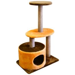 Домик-когтеточка Zooexpress Цилиндр 3 когтеточки 2 полки, мех однотонный, джут 40*60*98см