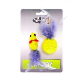 Игрушка для кошек Мышка и мячик с перьями 5+4см желтые Papillon