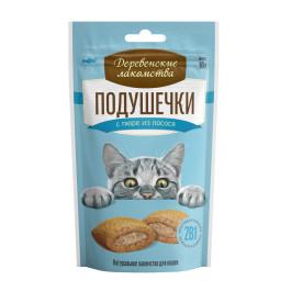 Деревенские лакомства для кошек Подушечки с пюре из лосося 30гр