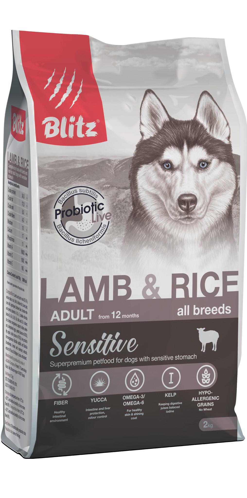 BLITZ Lamb & Rice Корм для собак всех пород с Ягненком и ...