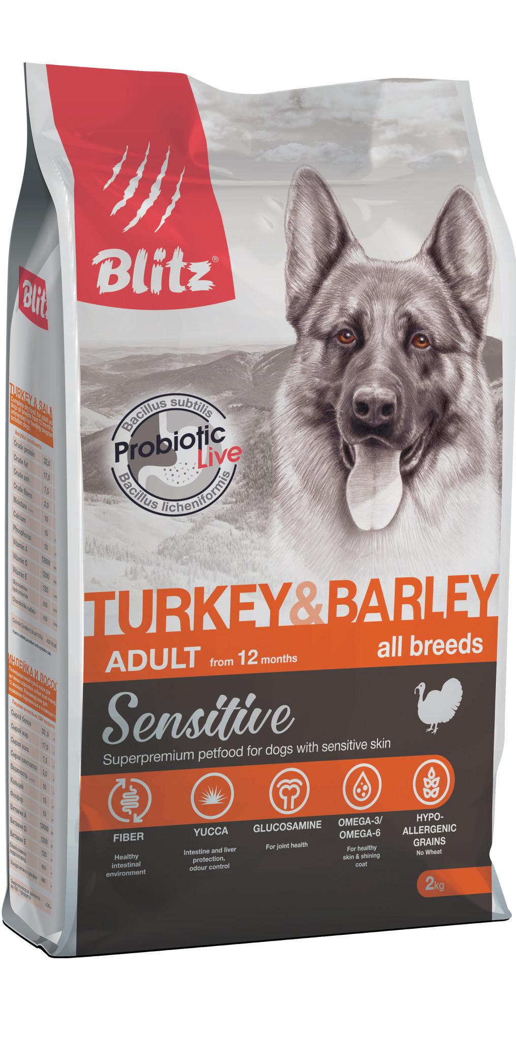 BLITZ Turkey & Barley Корм для собак всех пород с Индейкой ...