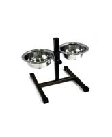 Зоомарк Кормушка Телескоп для собак с 2мя мисками, регулируемая, черная