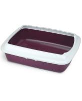 Туалет для кошек Triol прямоугольный с бортом СТ04 50,5*39*15см бургунди