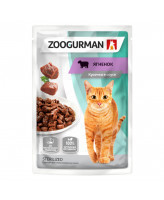 Зоогурман консервы для кошек кусочки в соусе Ягненок, Чувствительное пищеварение 85г пауч