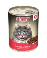 Зоогурман Big Cat консервы для кошек кусочки в желе, Мясное ассорти 350г