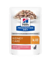 HILL'S К/D консервы для кошек лечение заболеваний почек, МКБ, лосось кусочки в соусе 85г пауч