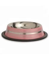 Beeztees Миска стальная нескользящая розовая в полосочку 180мл*11см