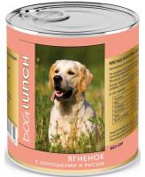 Дог Ланч консервы для собак  Ягненок с потрошками и рисом в желе 750г