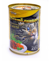 Ночной Охотник консервы для кошек Курица, кусочки в желе 415г