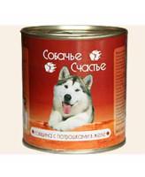 Собачье счастье консервы для собак Говядина с потрошками в желе 750г