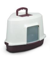 Туалет-домик для кошек Triol угловой  с дверцей и совком, темно-серый   40*56.5*42.5см