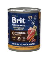 Brit Premium by Nature консервы для собак Говядина и Печень 850г