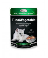 Gina консервы для кошек филе Тунца с овощами в густом соусе 85г