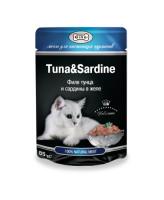 Gina консервы для кошек филе Тунца и Сардины в желе 85г