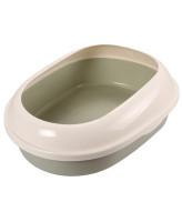 Туалет для кошек Triol овальный с бортом оливковый 49*38*16см