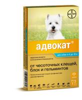 Адвокат 100 капли для собак 4-10кг от блох, чесоточных клещей и глистов 3 пипетки*1мл