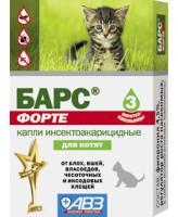 Барс Форте Капли от блох и клещей на фипрониле для котят 3 пип.
