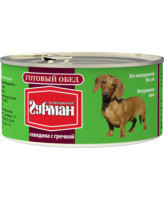 Четвероногий Гурман Готовый обед консервы для собак Говядина с гречкой 325г