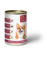 CLAN CLASSIC консервы для собак Мясное ассорти с говядиной 340г