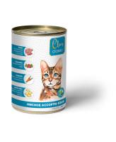 CLAN CLASSIC консервы для кошек Мясное ассорти с языком 340г