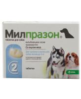 Милпразон антигельминтик со вкусом мяса для щенков и собак весом до 5кг 2таб.