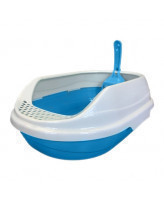Туалет для кошек Homecat овальный с бортиком и совком 52х38х17см, голубой