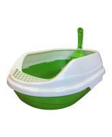Туалет для кошек Homecat овальный с бортиком и совком 52х38х17см, зеленый