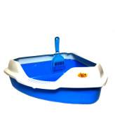 Туалет для кошек Homecat угловой с бортиком и совком 56х42х18см, голубой