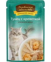Деревенские лакомства Консервы для кошек Тунец с креветкой в нежном желе, 70г пауч