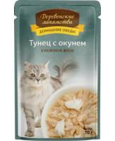 Деревенские лакомства Консервы для кошек Тунец с окунем в нежном желе, 70г пауч