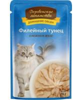 Деревенские лакомства Консервы для кошек Филейный тунец в нежном желе, 70г пауч