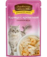 Деревенские лакомства Консервы для кошек Курица с креветкой в нежном желе, 70г пауч